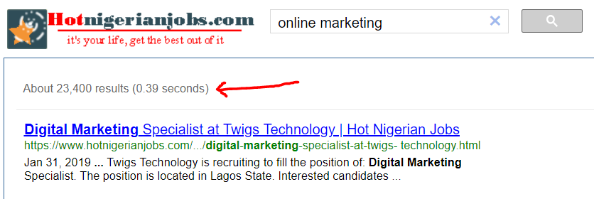 Hotnigerianjobs search for digital marketing